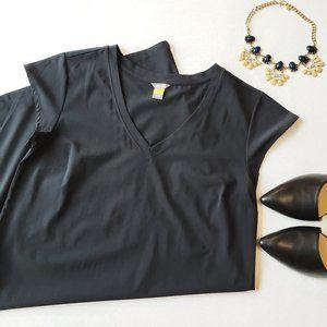 {Eddie Bauer} Long Midi Black Dress Light V neck